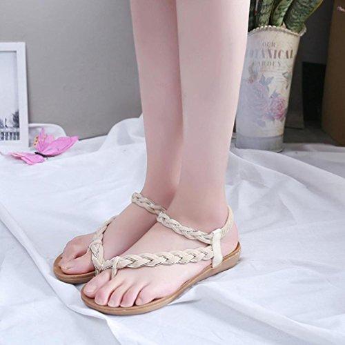 Deesee (tm) Vrouwen Platte Schoenen Bandage Bohemien Vrije Tijd Strand Sandalen Peep-toe Outdoor Schoenen Beige