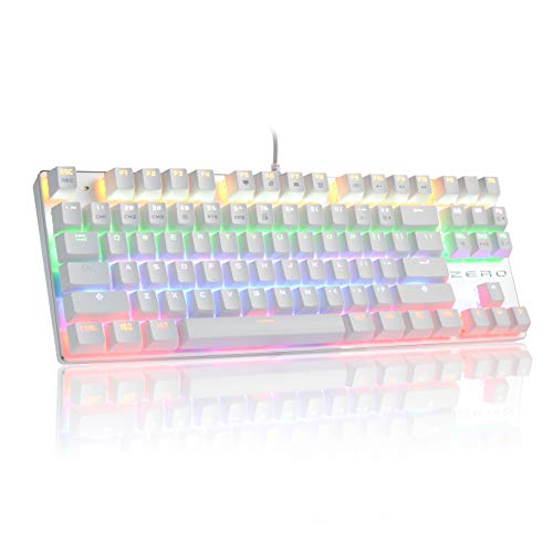 HiveNets 87 Keys Gaming Keyboard US Layout Blue Switches Anti Ghosting Mechanical Keyboard with LED Flashing Backlit White
