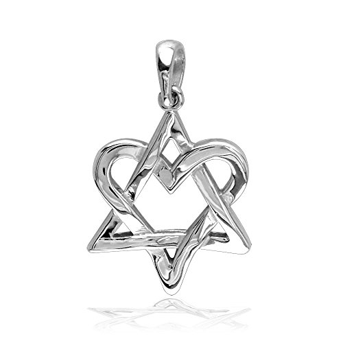 (Small Heart Star Of David, Jewish Star Charm, 17mm in Sterling Silver)
