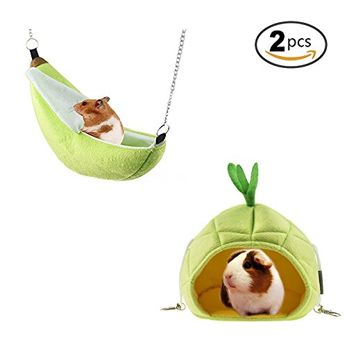 - STAR-TOP 2 Pack of Hamster Bed, House Hammock Small Animal Bed House Cage Nest Hamster Accessories for Sugar Glider Hamster Small Bird Pet