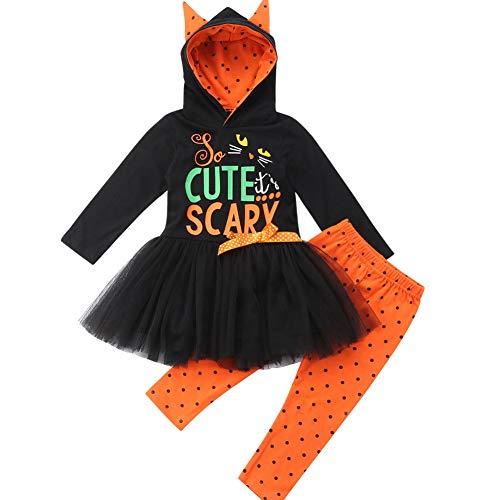 Toddler Baby Kid Girls Cartoon Cat Hoodie Tutu Top Polka Dot Pant Halloween Costumes (Black, 6-12 Months)