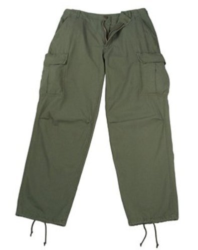 Olive Drab Rip-Stop Vintage Vietnam Fatigue Pants (Small)