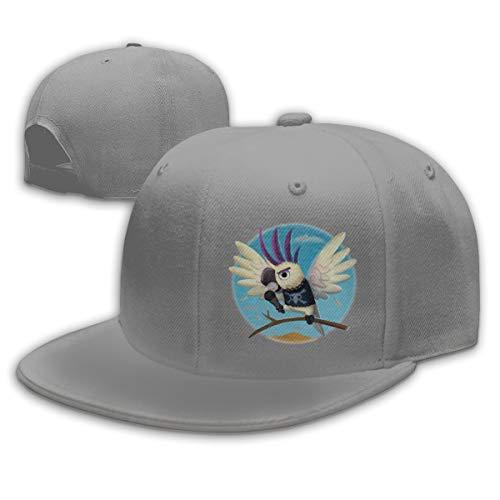 Buecoutes Singing Parrot Flat Visor Baseball Cap, Fashion Snapback Hat Gray
