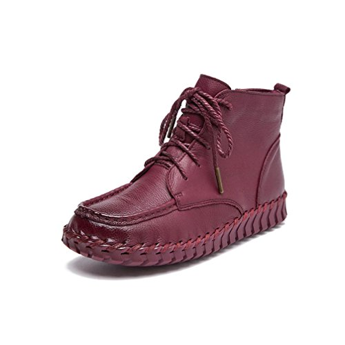 UPSUN Boots Daily Genuine Wine Ankle Leather Women's wCgwSvqa