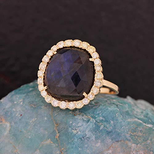 Solid 14k Yellow Gold Natural 4.72 Ct. Labradorite Gemstone Cocktail Ring Diamond Wedding Jewelry Handmade Fine Jewelry Christmas Day Gift For Her