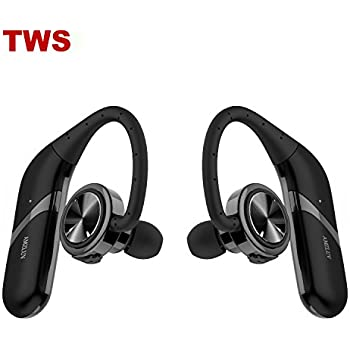 AMZLUV True Wireless Earbuds, Dual Bluetooth Headphones, Stereo Noise Cancelling Bluetooth Headset Best Waterproof Headset for sports - (Black)
