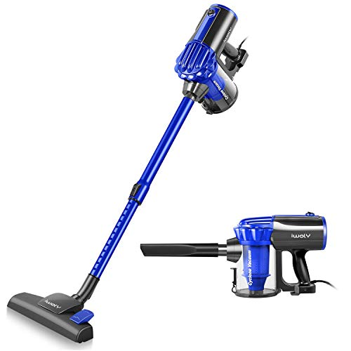 Hard Floor Vacuum - iwoly V600 Vacuum Cleaner Corded Bagless Stick and Handheld Vacuum for Hard Floor and Carpet