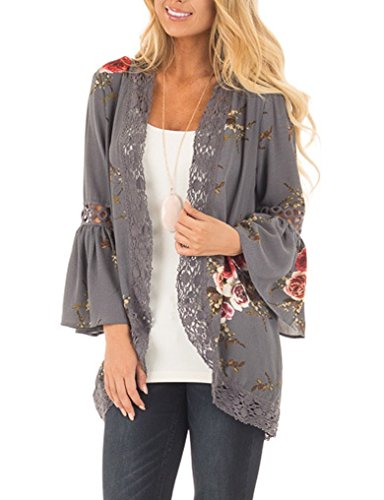 casuress Women's Cardigan-Sheer Kimono Loose Summer Floral Print Cover Ups from casuress
