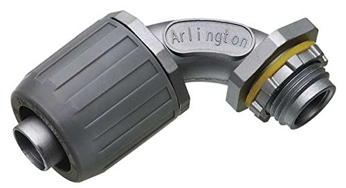 Arlington NMLT9010-5 90-Degree SNAP2IT Connector for Liquid-Tight Conduit, Push-On Installation, 1-Inch, Non-Metallic, (90 Degree Liquid Tight Conduit)