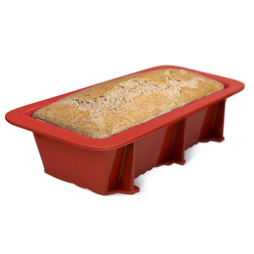 Silicone Bread and Loaf Pan Set of 2 Red, Nonstick, Commercial Grade Plus Homemade Bread Making Recipe Ebook by Silicone Designs (Image #4)