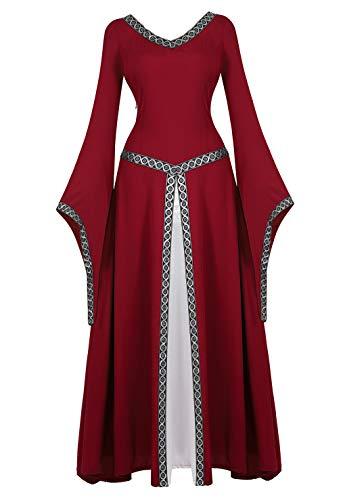 Rodeo Queen Costume (frawirshau Renaissance Costume Women Medieval Dress Queen Gown Renaissance Faire Costumes Women WineRed)