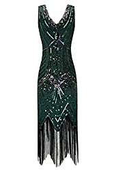 Metme Women's 1920s V Neck Beaded Fringed Gatsby Theme Flapper Dress For Prom,green,large