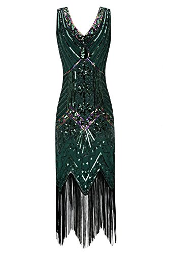 Metme Women's 1920s V Neck Beaded Fringed Gatsby Theme Flapper Dress for -