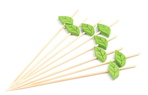 "(PuTwo Cocktail Picks Handmade Bamboo Toothpicks 100ct 4.7"" Green Leaves)"