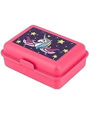 baagl Broodtrommel voor kinderen met vakken - lunchbox met scheidingswand voor school en kleuterschool - lunchbox met onderverdeling voor meisjes (eenhoorn)