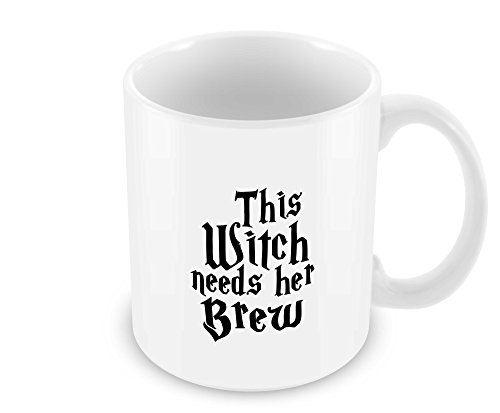 Geek Details This Witch Needs Her Brew Coffee Mug, 11 Oz, White (Scary Halloween Coffee Mugs)