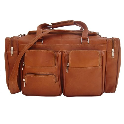 Piel Leather 20In Duffel Bag with Pockets, Saddle, One Size ()