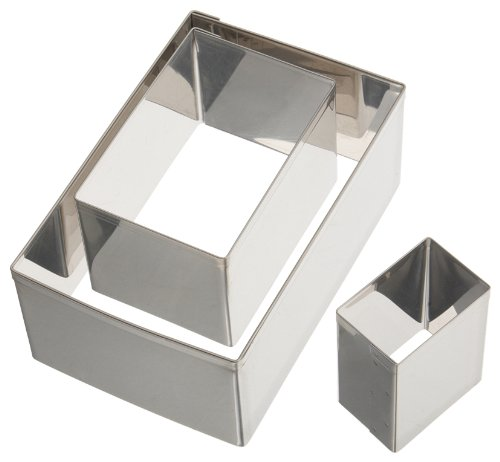Ateco 5258 Plain Edge Rectangle Cutters in Graduated Sizes, Stainless Steel, 3 Pc Set