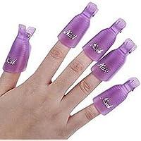 homiki Lot de 10 clips Pinces à Ongles en Plastique/DIY en plastique acrylique pour dissolvant vernis à ongles Outil Nail Art facile à utiliser