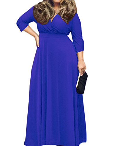 POSESHE Women's Solid V-Neck 3/4 Sleeve Plus Size Evening Party Maxi Dress Navy Blue XL