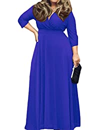 Women's Solid V-Neck 3/4 Sleeve Plus Size Evening Party...