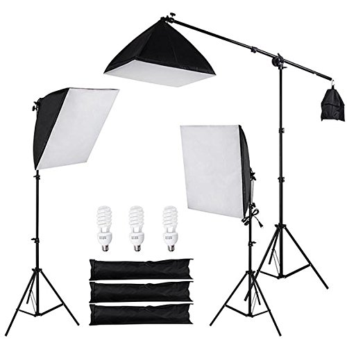 3 Point Softbox Lighting Boom Arm Photography Studio Kit: 3x 24'' x 24'' Soft Boxes, 3x 45W Bulbs, 2x Tripod Stands, 1x Boom Stand by ShopOC