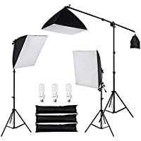 3 Point Softbox Lighting Boom Arm Photography Studio Kit: 3x 24 x 24 Soft Boxes, 3x 45W Bulbs, 2x Tripod Stands, 1x Boom Stand