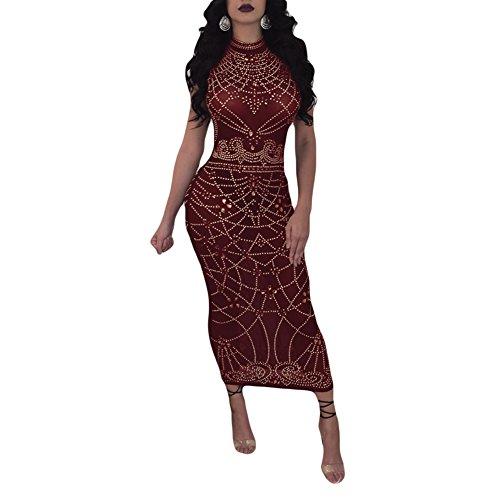 Joseph Costume Womens Sleeveless See Through Mesh Sheer Printed Bodycon Pencil Dress Midi Sexy Party Night Wine Red XL -