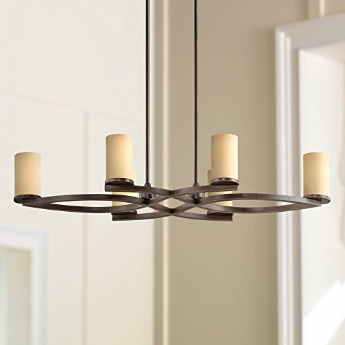 Fairport Bronze and Amber Glass 6-Light Island Chandelier - Franklin Iron Works (6 Light Amber Glass Chandelier)