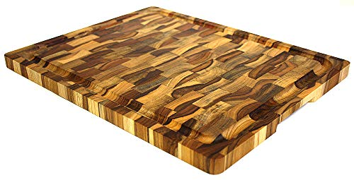- Mountain Woods Teak Cutting Board - Rectangle End Grain Butcher Block With Juice Groove And Carved handle (15 X 12 X 1.25 in.)