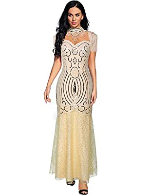 Sequin Beaded Formal Dresses for Women Evening Flapper Maxi Gown Dress