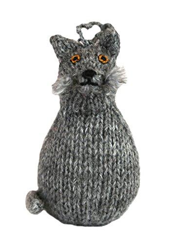 Global Handmade Hope Alpaca Blue Russian Kitty Cat Ornament - Grey Color - Fair Trade - Hand Knit in Peru