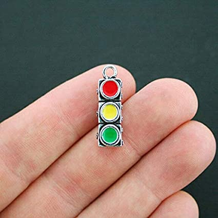 2 Traffic Light Charms Silverplated Enamel Fun and Colorful E009