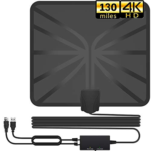 TV Antenna, 2020 Newest Indoor Digital HDTV Amplified Antennas Freeview 4K HD VHF UHF for Local Channels 130+ Miles Range with Switch Amplifier Signal Booster Support All TV's-16.5ft Coax Cable reviews