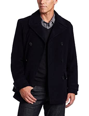 Tommy Hilfiger Men's Wool Plush Peacoat, Black, Large