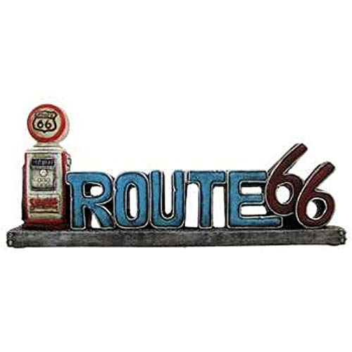 Vintage Style Route 66 Stand Up Sign With LED Gas Pump Light