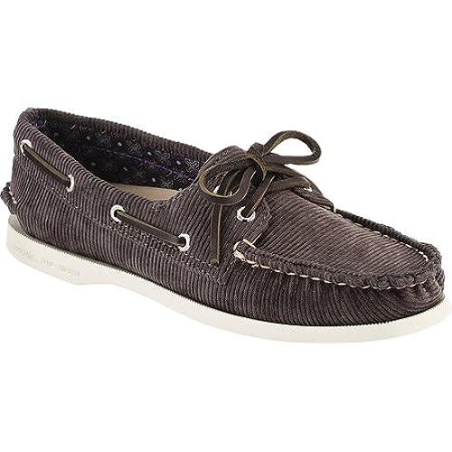 Sperry Top-Sider Women's A/O 2 Eye Grey Washed Corduroy Boat Shoe 10 M (B)