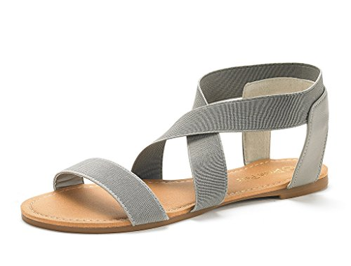 DREAM PAIRS Women's Elatica-6 Grey Elastic Ankle Strap Flat Sandals - 7 M US