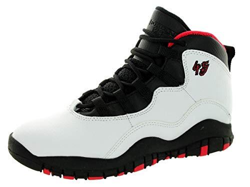 Jordan Nike Kids 10 Retro Bp White/Black/True Red Basketball Shoe 1.5 Kids US