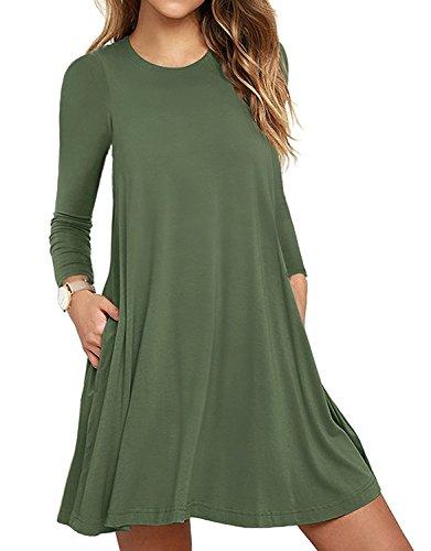 HAOMEILI Women's Long Sleeve Pockets Casual Swing T-Shirt Dresses (XX-Large, Long Sleeve-Army Green)