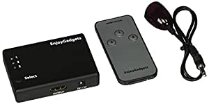 EnjoyGadgets 3-Port HDMI Switch (Switcher Selector), 3 In 1 Out, Support 3D, Remote Control, Auto Switching, 1080p