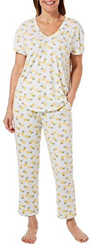 - Jaclyn Intimates Womens Pineapple Print Pajama Capris Set Small White/Yellow/Green