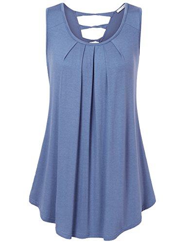 Messic Womens Sleeveless Shirts Scoop Neck Pleats A Line Criss-Cross Back Dress Tops