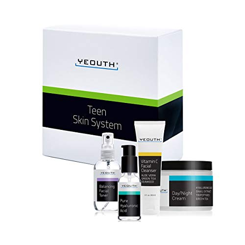 Vitamin E Skin Care Starter Kit - YEOUTH Teen Skin Kit Starter Set - Anti Aging Beauty Essentials - Vitamin C Facial Cleanser - Balancing Facial Toner for Face - Pure Hyaluronic Acid Serum - Day and Night Snail Cream Moisturizer
