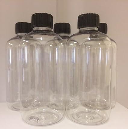 5x 250ml TRANSPARENTE Mascota Plástico Botellas Con Negro Tapas