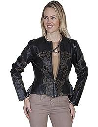 Western Jacket Womens Leather Laser Cut Flare Bottom L670