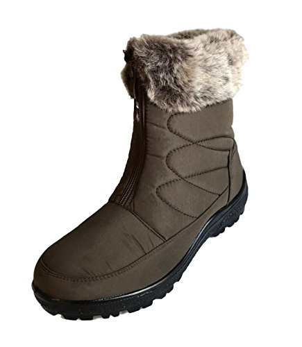 Cushion Walk Thermo-Tex Fur Lined Womens Snow Boots Ladies Snug Warm Fashion Ankle Boots Size 3-8 Brown - Zip zdeikZnlyp