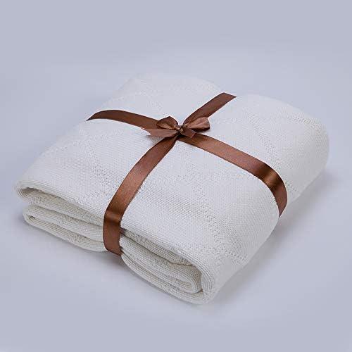 EMEZ Manta de algodón, Manta de Verano Fina, Manta de Punto para Siesta, Manta Individual para Oficina, Alfombra Doble, 200 cm x 230 cm, Color Blanco: Amazon.es: Hogar