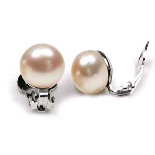 Sterling Silver Pink Button Freshwater Cultured Pearl Clip On Earrings