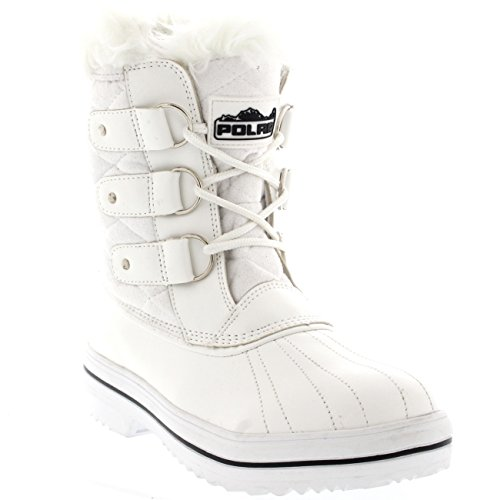 Polar Products Womens Snow Boot Quilted Short Winter Snow Rain Warm Waterproof Boots White Suede eLV5Ornd